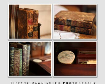 Antique Books Photo Collection, Gift for Book Lover, Vintage Books, Library Wall Art, Bibliophile Gift, Set of four prints, Gift for Writer