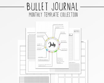 Bullet Journal Monthly Layout Template BUJO Spread