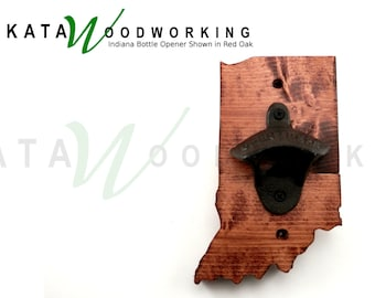 Indiana Wood Cut-out Bottle Opener - Hand Made - Wall Mount