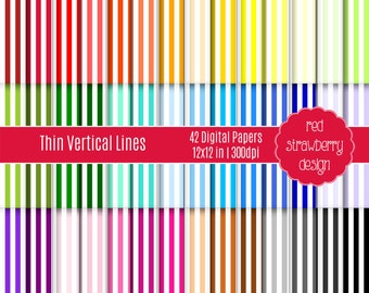 75% OFF Sale - 42 Digital Papers - Thin Vertical Stripes - Instant Download - JPG 12x12 (DP225)