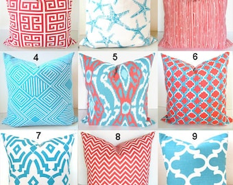 AQUA BLUE PILLOWS Coral Pillows Blue Pillow Covers Blue Throw Pillows Aqua Blue Pillow Cover Ikat Blue Turquoise 16x16 18x18 20x20 All Sizes