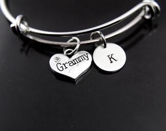 Grammy Bangle, Grammy Bracelet, Grammy Charm, Grandma Bracelet, Grandmother Gift, Personalized Bracelet, Expandable Bangle