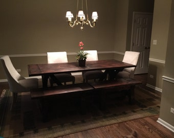 7 Ft. Custom Surfaced Farmhouse Table and Bench Set