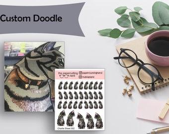Custom Doodle  - Receive Sticker Sheet and Die Cut