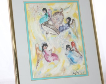 "First Bell DeGrazia Print -- 8.5"" x 10"" -- Framed, Matt, Glass  -- Ted DeGrazia -- Angel, Bell, Southwest, Arizona"