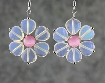 Moon stone clear pink flower drop Earrings Bridesmaid gifts Free US Shipping one day processing handmade Anni designs
