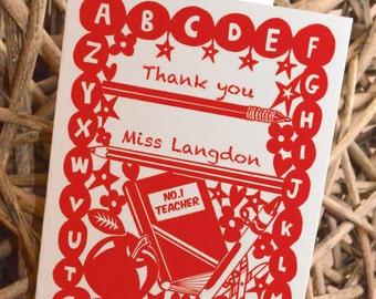 Personalised Thank you Teacher/ Back to School/ First day of School/ Kindergarten/ Nursery/ Pre School/ GCSE/ A Level/ Congratulations Card