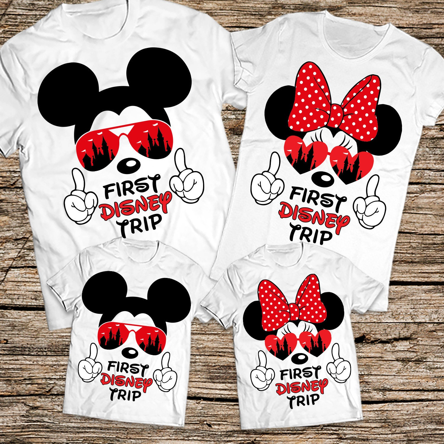 First Disney Trip family shirts Disney sunglasses family