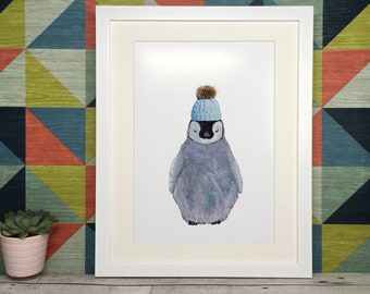 Baby Penguin Print - Taken from Original Acrylic Painting - A4 or A3 print or Framed A4 - Nursery New Baby