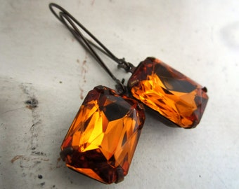 Topaz Rhinestone Earrings Vintage Topaz Rhinestone Drop Earrings Amber Earrings Golden Honey Rhinestone Earrings November Birthstone Earring