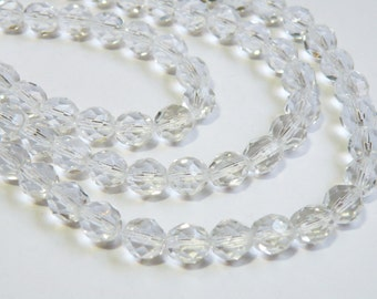 Clear Crystal Czech fire polished glass faceted round beads strand 8mm 2446GL