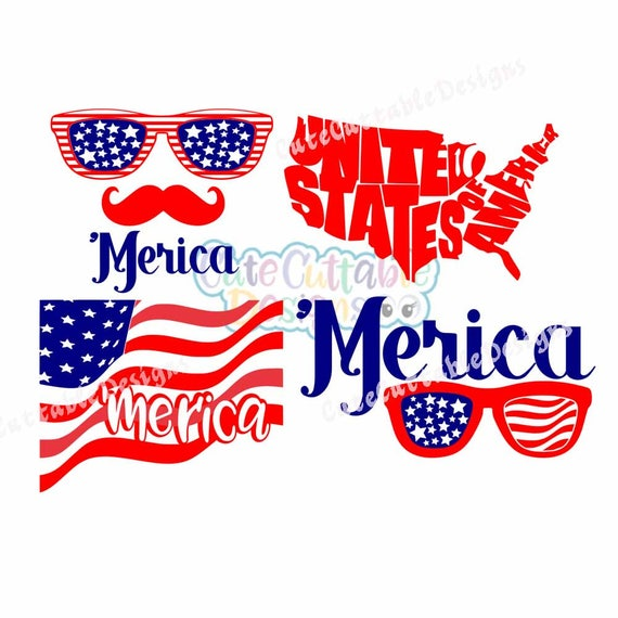 Merica SVG Sunglasses SVG United States American Flag 4th