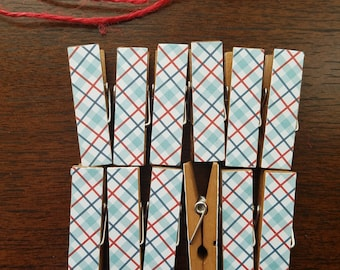 Baby Shower Clothesline Gift - Vintage Blue Plaid - Chunky Wood Mini Clothespin Clips w Twine for Display -  Set of 12 - Preppy Manly Man