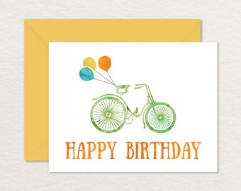 Printable Birthday Card A2 / Printable Bicycle Card / Printable Bicycle / Bike Card / Balloons Card / Watercolor Birthday Card
