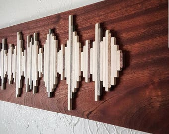 African Mahogany Soundwave Wall Art - Live Edge Wood Wall Art - Unique Gift Idea - Anniversary Gift - Hospitality Art