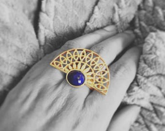 Boho jewelry. Boho Ring Double finger ring. Mother's day gift, Gift for mom. Unique ring. Lapis cuff ring. Half moon ring, Statement ring