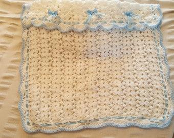 Beautiful Handmade Crochet Blue & White Baby Pram Blanket