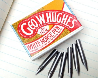 White Horse Pen vintage George W Hughes pen nibs, 6 British unused vintage nibs.