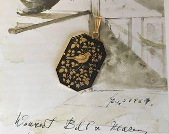Vintage Black and Gold Bird & Leaf Pendant