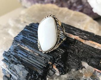 White Onyx Ring, Adjustable Gemstone Ring