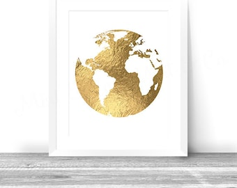 World map printable etsy golden globe gold foil world map printable wall art decor instant download digital 8x10 print metallic map gold foil map gumiabroncs Gallery