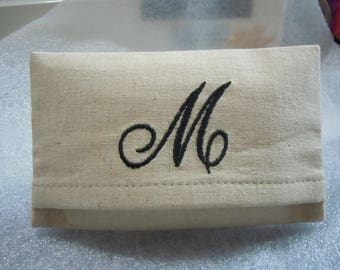 Monogrammed Essex Natural Linen Purse or Pocket Tissue Cover with Monogram - M