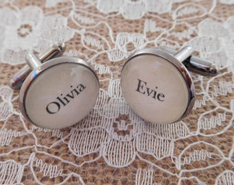 Personalised Children's Names Dad cufflinks - Great Birthday, Father's Day or Christmas gift for husband