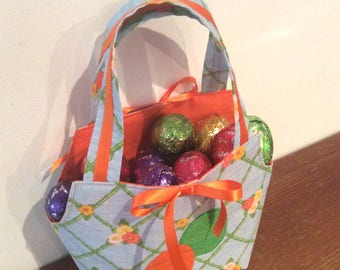 Easter Egg Baskets/Gift Bags, Quality Hand Made, Orange Fabric
