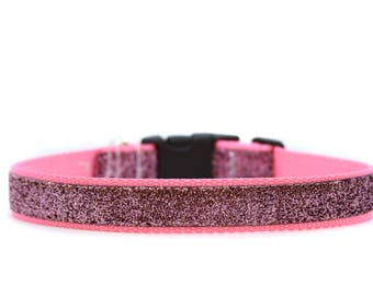 1 Inch Wide Dog Collar with Adjustable Buckle or Martingale in Pink Sparkles