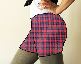 Made to order shorts - Punky red plaid print - available in sizes XS, S, M, L, XL and custom sizes - kezbirdie