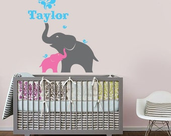 Elephant and Baby with Custom Name Vinyl Wall Decal for Nursery, Kids, Childrens Room
