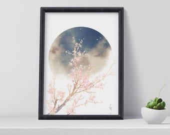 Cherry blossom art print, exotic art print, modern wall art, moon poster, art prints, home decor, christmas gift idea, digital download