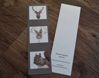 Woodland Animals, Stag, Rabbit and Squirrel Cute Card Bookmark