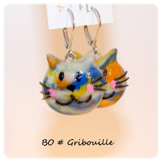 Earrings # # dangle earrings unique # for kids # young # gribouille # polymer # # dollydoo # gift cats