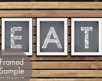 EAT (Kitchen Fork Knife Spoon)  Set of 3 - Art Prints (Featured in Charcoal) Customizable colors