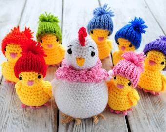 PDF Pattern - Amigurumi Hen & chickens (crochet chicken)