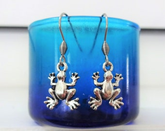 FROG EARRINGS - in silver tone- surgical stainless steel ear wires - hypoallergenic, sensitive ears earring wires