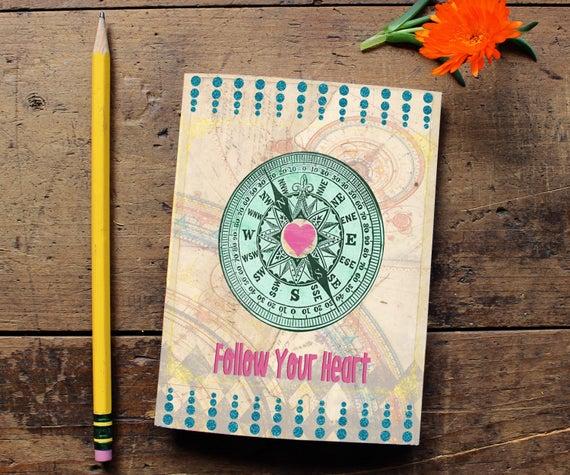 Compass Heart Journal - Handmade Notebook - Blank Journal - Quote Art Notebook  - Writing journal - Sketchbook - Follow your Heart