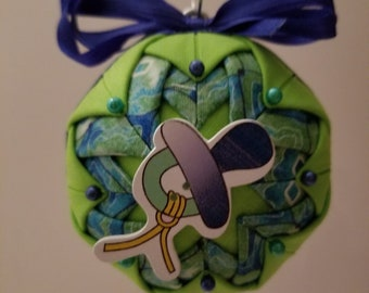 Green and Blue folded fabric handmade ornament with pacifier decoration
