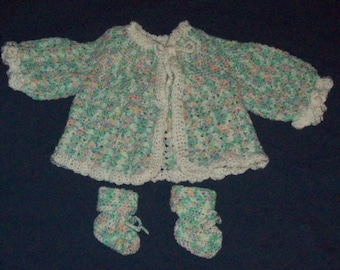 Baby Sweater Jacket And Booties Size 3 To 9 Months Crochet Sweater Crochet Baby Shoes Baby Shower Gift Set Crochet Jacket  Sacque