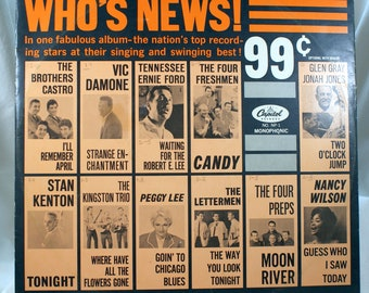 Who's News vinyl record Capitol NP-1 Promotional record Various Artist Swing Peggy Lee Stan Kenton The Letterman The Four Preps Nancy Wilson