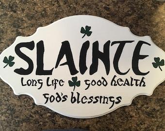 "Irish ""Slainte"" sign, hand painted, wooden, home decor, wall art, gift"
