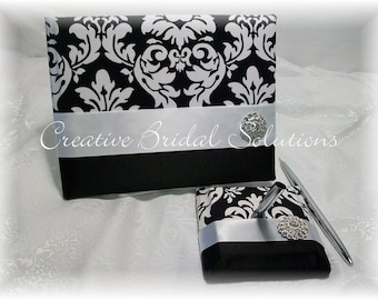 Black and White Damask Wedding Guest Book and Pen Set