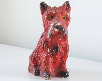 Vintage red chalkware scottie dog figurine / 1940s chalk ware scotty dog / mid century dog home decor / terrier dog