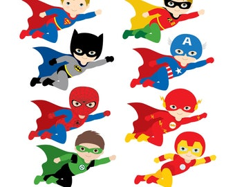Flying Superhero Clipart, Superheroes Kids Clipart, Superheroes Clipart, Super Hero Clipart, Superhero Boys