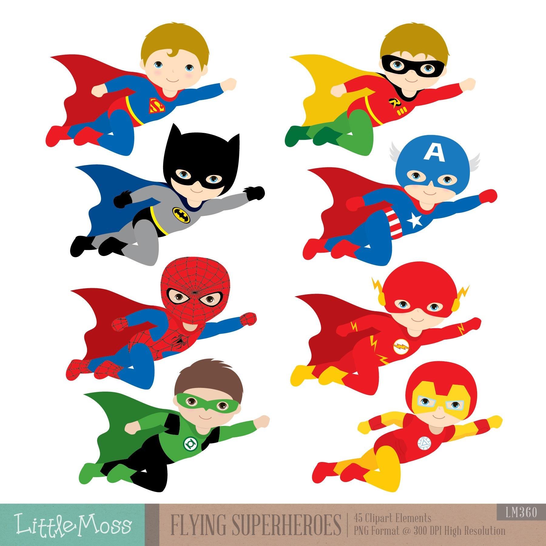 flying superhero clipart superheroes kids clipart rh etsy com superhero clip art free super heros clip art