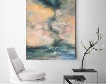 Seastorm, sunset, abstract ocean, blue landscape,horizon, ocean art, sea painting, seascape, clouds, sky painting, storm, large blue art