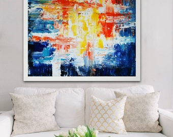 Abstract  colorful Giclee print, colorful print, abstract blue print, blue red yellow painting on print, square blue and red art