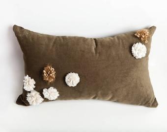 Green Pom Pom Pillow, Green, Pom Pom Pillow, Corduroy Pillow, Olive Green Pillow, Decorative Pillow, Bedroom Pillow, Throw Pillow