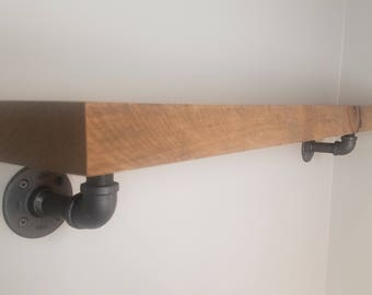"2"" Thick Solid Wood floating Shelf with pipe braces"